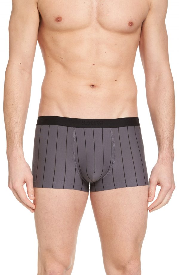 Men's Hanro Shadow Cotton Blend Trunks, Size Large - Black