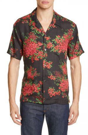 Men's John Elliott Floral Print Bowling Shirt, Size Small - Pink
