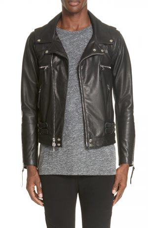 Men's John Elliott Riders Leather Jacket, Size XX-Large - Black