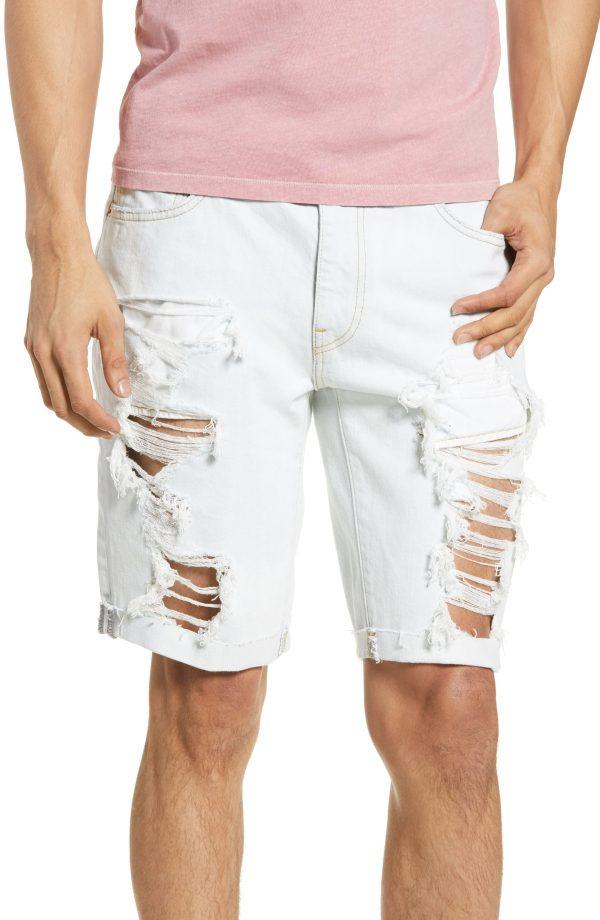 Men's Levi'S 511(TM) Ripped Slim Fit Cutoff Shorts, Size 29 - Grey