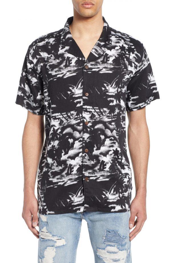 Men's Levi's Cubano Camp Shirt, Size Medium - Black