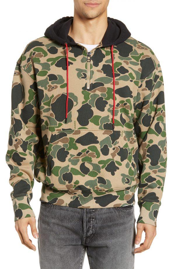 Men's Levi's X Justin Timberlake Half Zip Hooded Sweatshirt, Size Small - Green