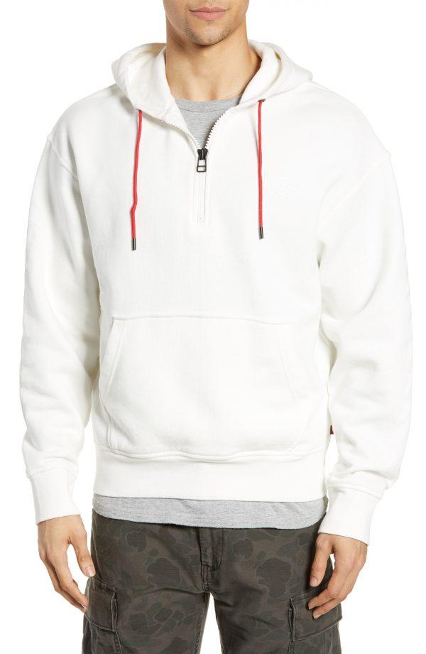 Men's Levi's X Justin Timberlake Half Zip Hooded Sweatshirt, Size Small - White