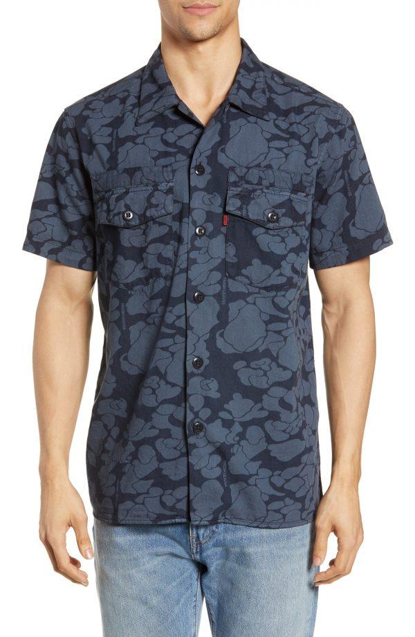 Men's Levi's X Justin Timberlake Military Camp Shirt, Size Small - Blue