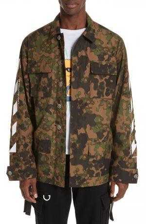 Men's Off-White Camo Field Jacket, Size Medium - Brown