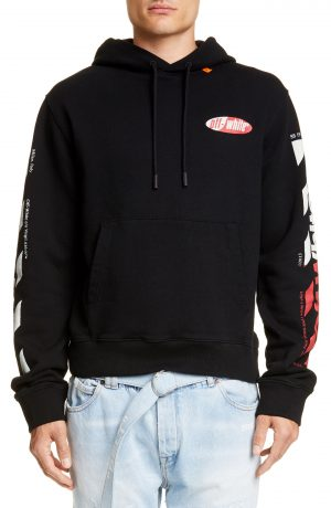 Men's Off-White Diagonal Split Logo Hooded Sweatshirt, Size X-Large - Black