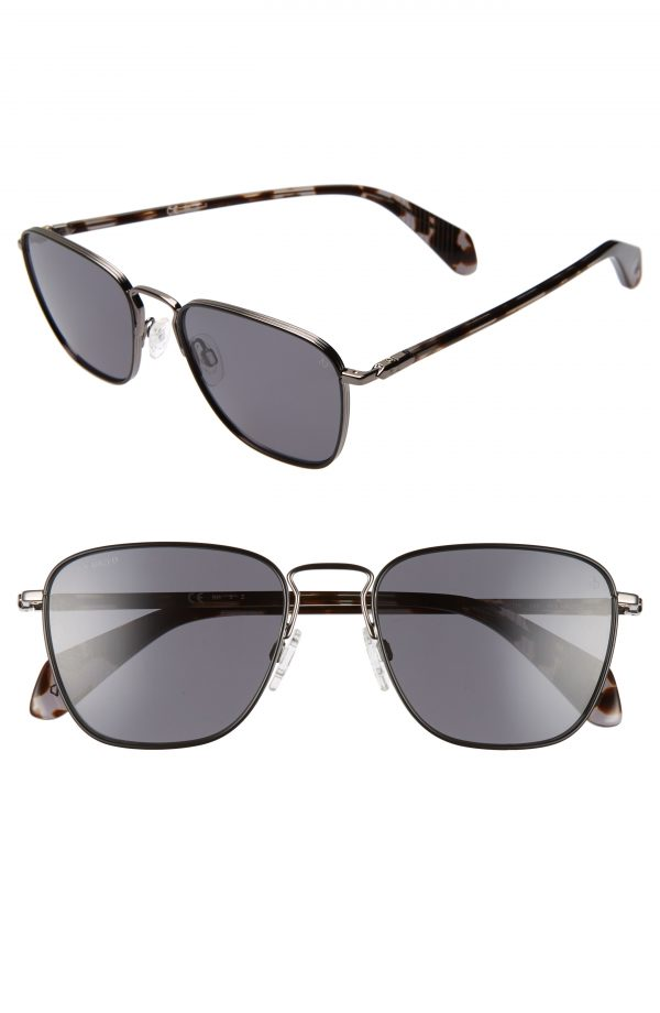 Men's Rag & Bone 54Mm Polarized Navigator Sunglasses - Black Dark Ruthenium