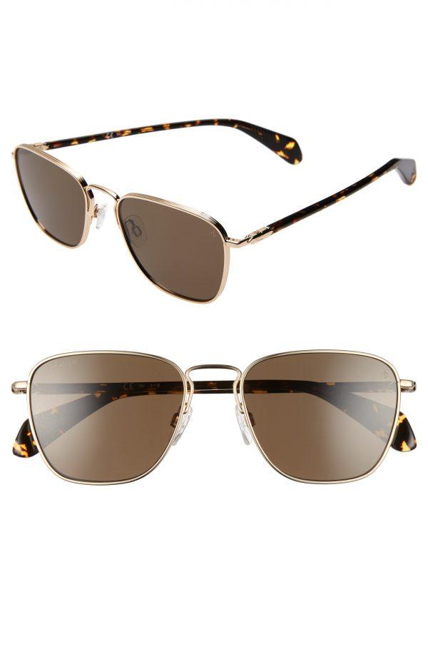 Men's Rag & Bone 54Mm Polarized Navigator Sunglasses - Light Gold