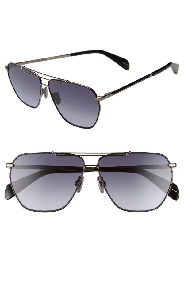 Men's Rag & Bone 61Mm Flat Top Navigator Sunglasses - Ruthenium Matte Black