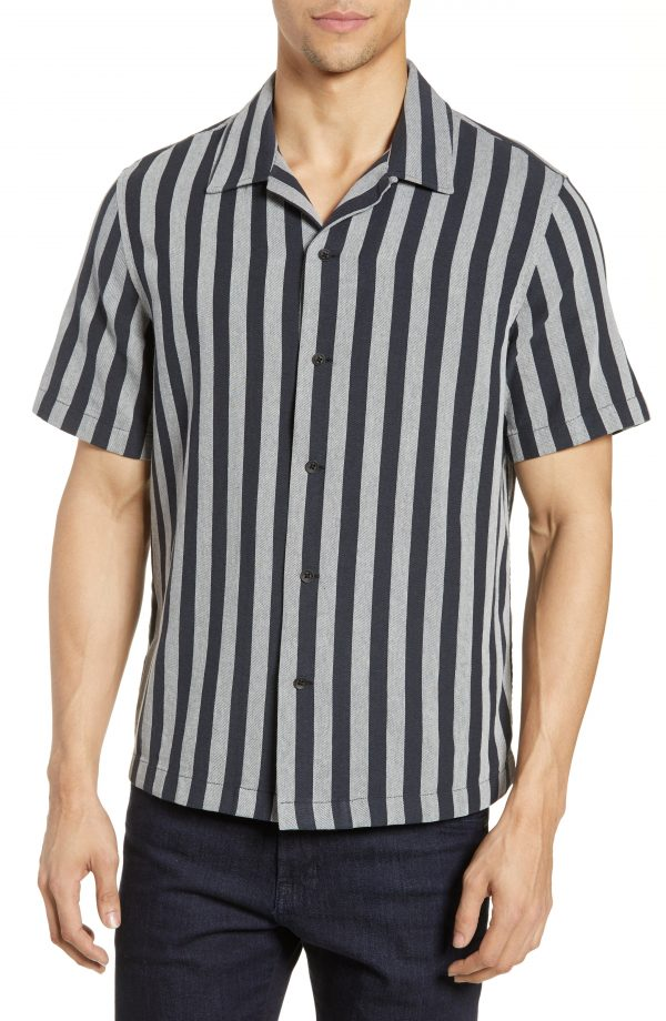 Men's Rag & Bone Avery Stripe Shirt, Size Medium - Grey