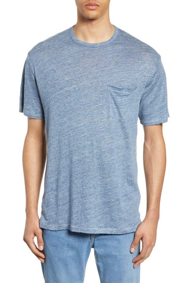 Men's Rag & Bone Owen Linen Pocket T-Shirt, Size Small - Blue