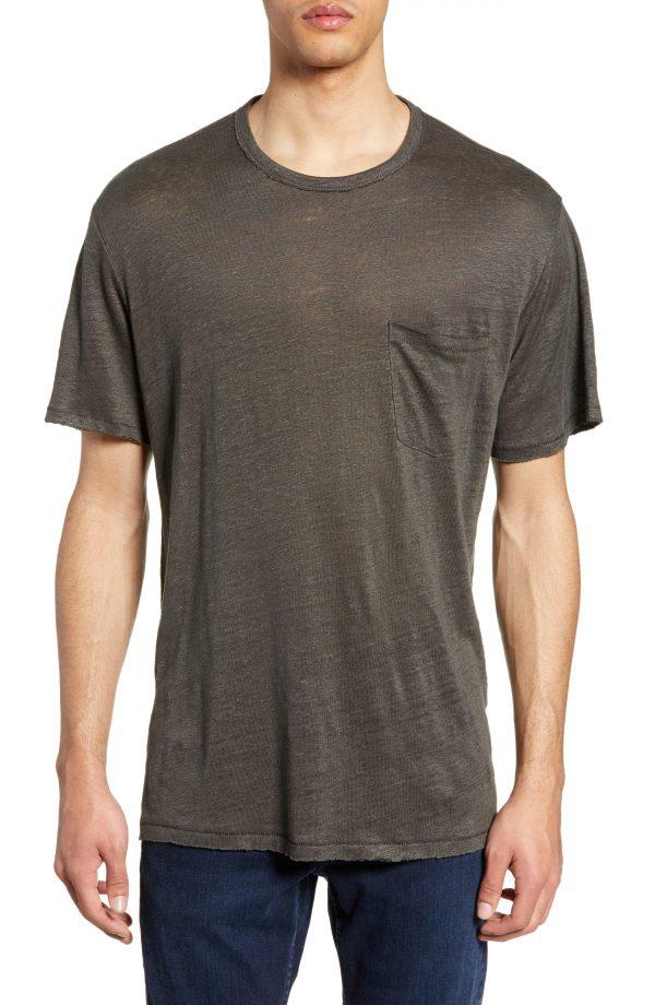 Men's Rag & Bone Owen Linen Pocket T-Shirt, Size Small - Grey