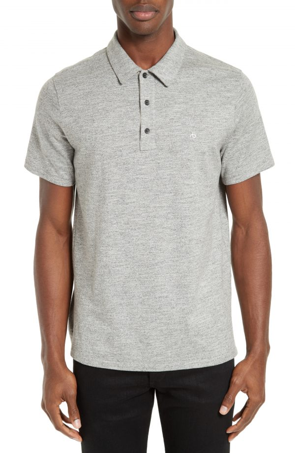 Men's Rag & Bone Standard Issue Regular Fit Slub Cotton Polo, Size X-Large - Grey