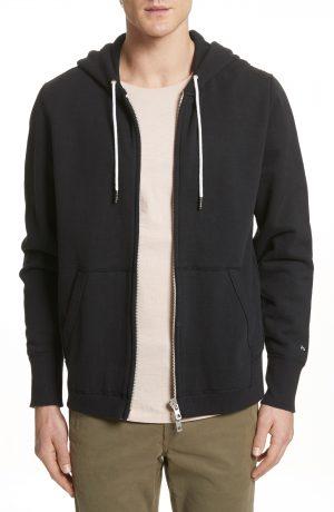 Men's Rag & Bone Standard Issue Zip Hoodie, Size Medium - Black