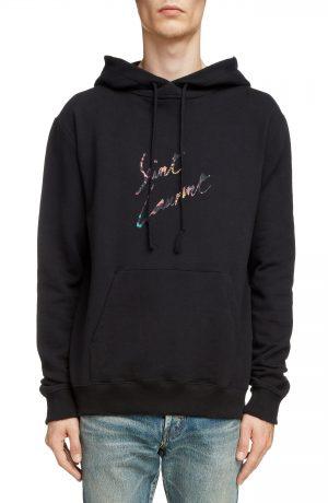 Men's Saint Laurent Destroyed Logo Hoodie, Size X-Large - Black