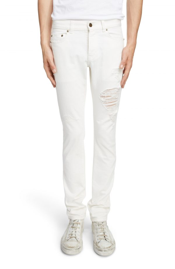 Men's Saint Laurent Slim Fit Distressed Jeans, Size 28 - White