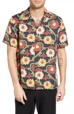 Men's Saturdays Nyc Canty Peony Camp Shirt, Size Small - Black