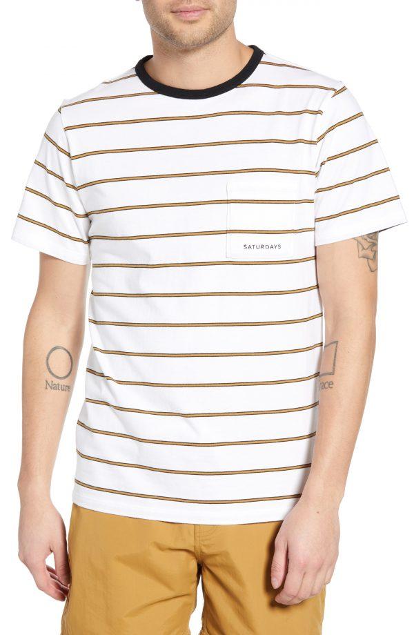 Men's Saturdays Nyc Randall Stripe Pocket T-Shirt, Size Small - White