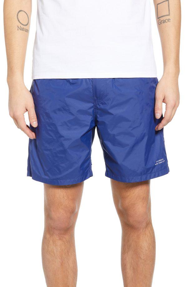 Men's Saturdays Nyc Trent Hybrid Athletic Shorts, Size Small - Blue