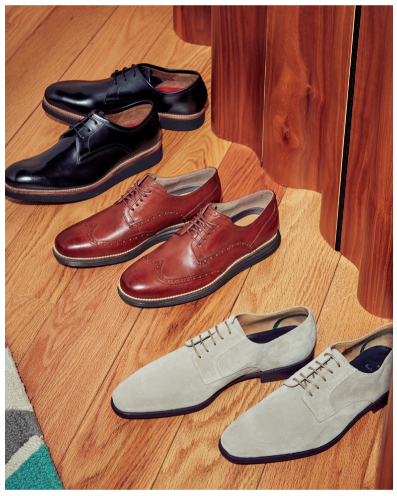 Office-Ready Lace-Ups (Top to Bottom): Grenson Lennie Derby Shoes, Cole Haan Original Grand Short Wingtip Oxfords, and PS Paul Smith Daniel Lace-Ups