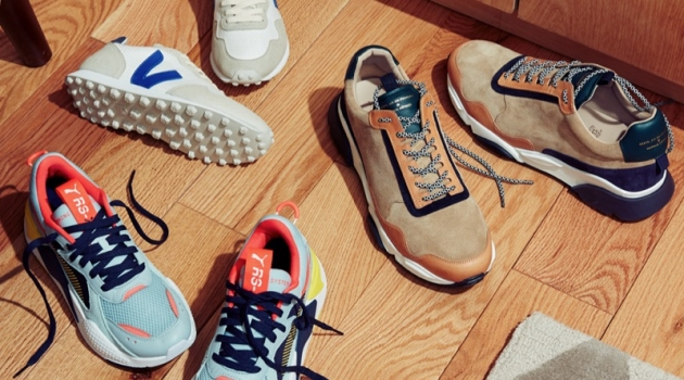 Retro Sneakers (Left to Right): PUMA Select RS-X Reinvention Sneakers, Veja SDU Hexa Sneakers, and Zespa ZSP7 Mixed Suede Runners