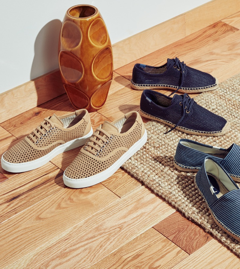 Easy Espadrilles (Left to Right): Zespa ZSP8 Nubuck Sneakers, Soludos Mesh Derby Lace-Up Espadrilles, and Soludos Classic Stripe Espadrilles
