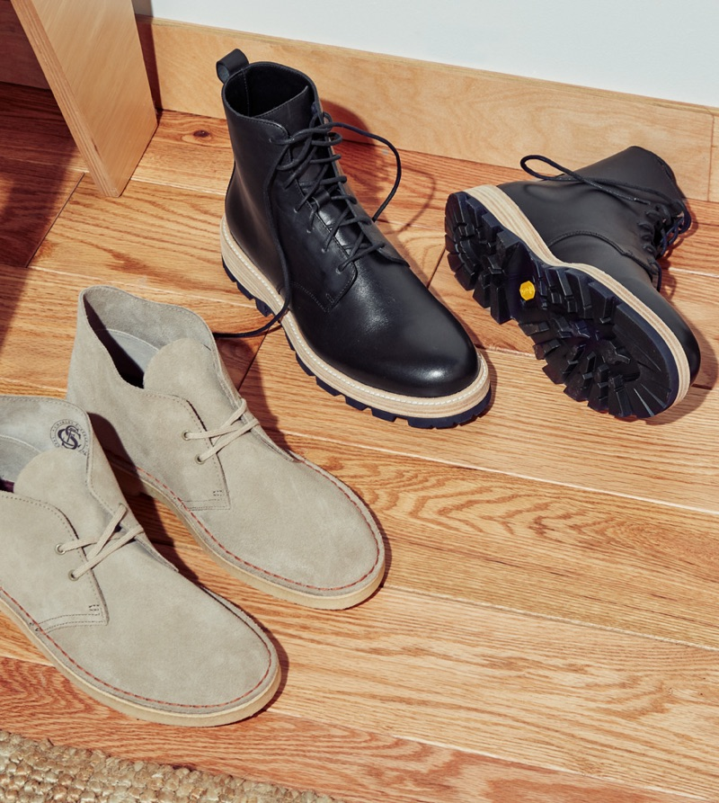 Boots Rebooted (Left to Right): Clarks Suede Desert Boots and Clarks Lorwin Mali Boots