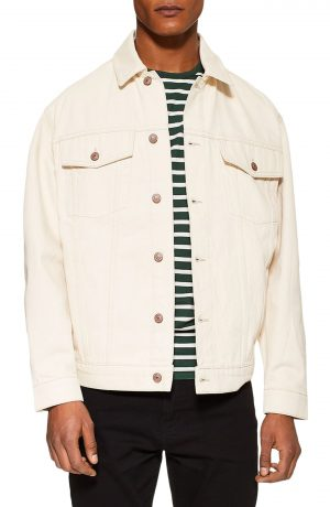 Men's Topman Embroidered Denim Jacket, Size Large - White