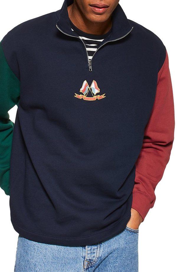 Men's Topman Flag Panel Quarter Zip Pullover, Size Large - Blue