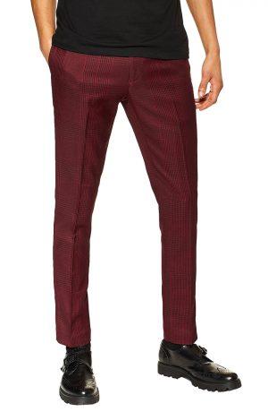 Men's Topman Kemp Check Skinny Trousers, Size 32 x 32 - Red