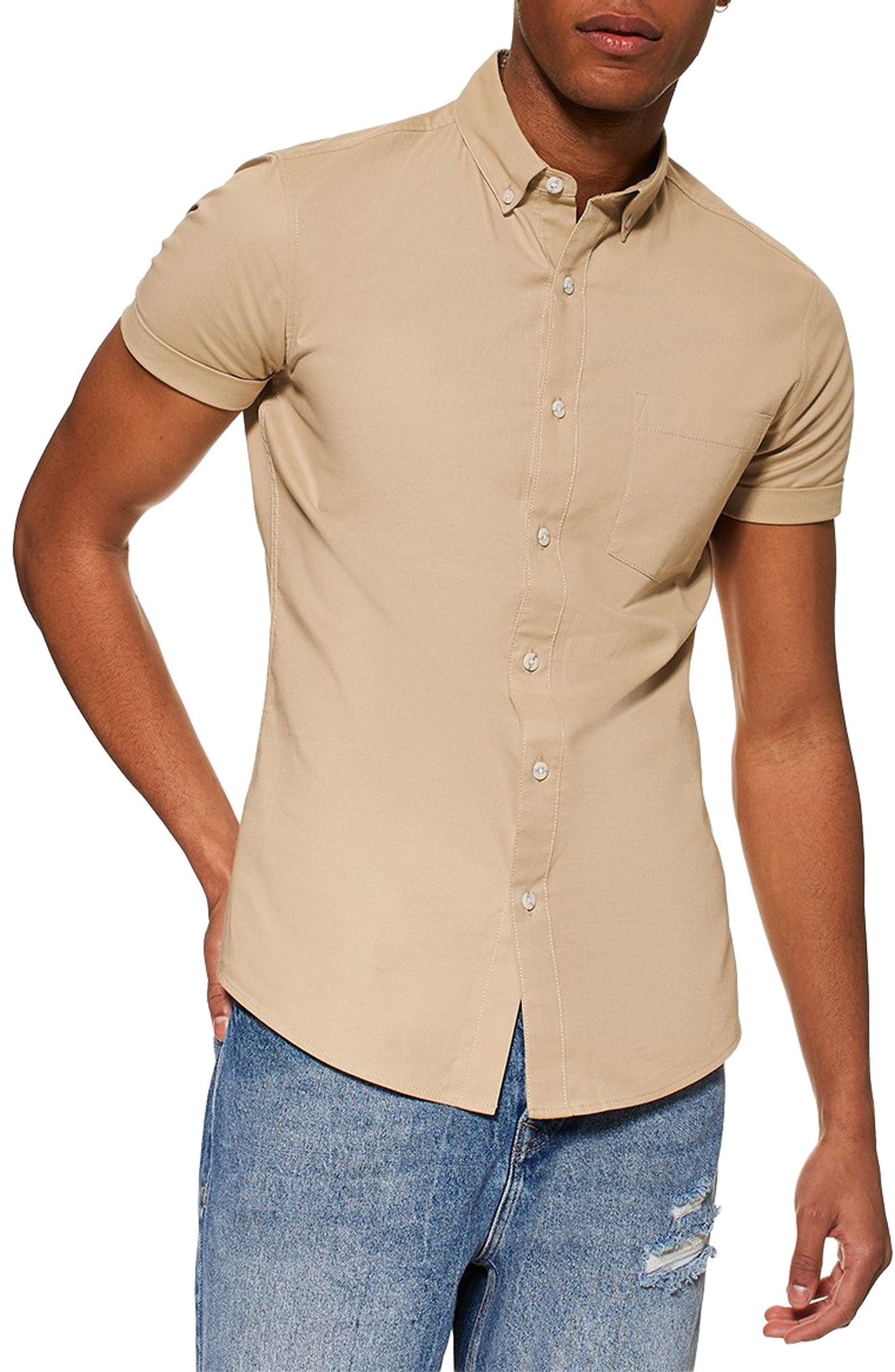 92beec25f Men's Topman Muscle Fit Oxford Shirt, Size Medium – Beige   The Fashionisto