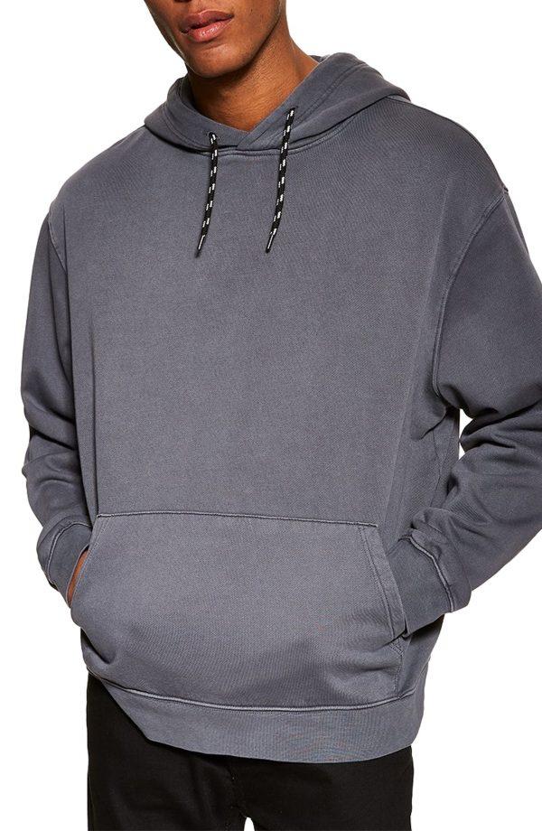 Men's Topman Oversize Hoodie, Size Large - Grey