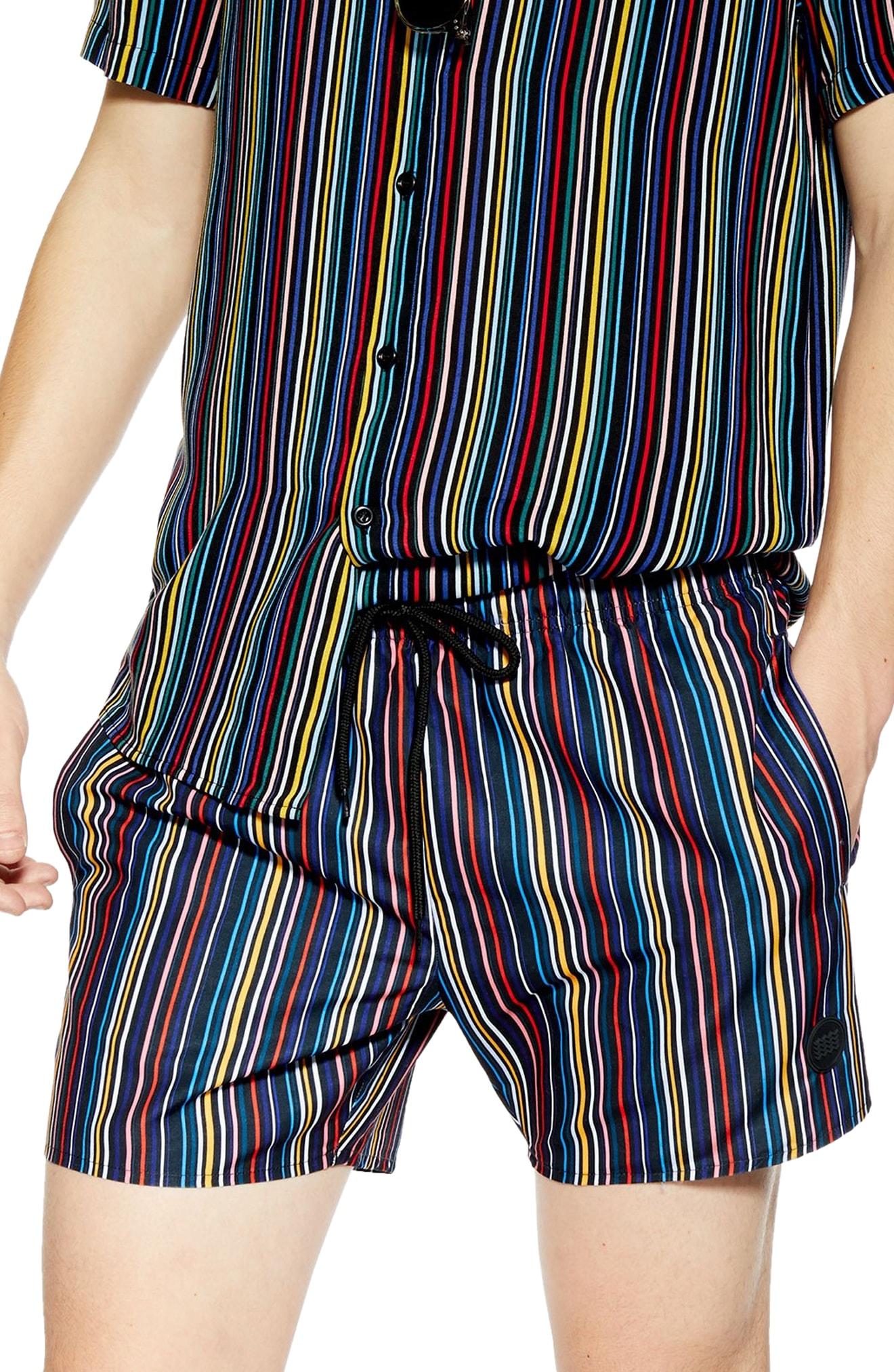 e2d54424c1b2 Men's Topman Pinstripe Swim Shorts, Size Large – Black | The Fashionisto