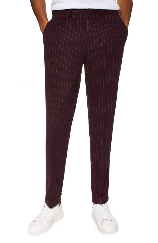Men's Topman Rocky Slim Fit Pinstripe Trousers, Size 30 x 32 - Blue