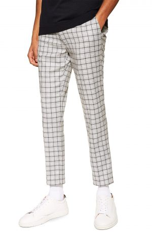Men's Topman Skinny Fit Check Trousers, Size 30 x 32 - Black