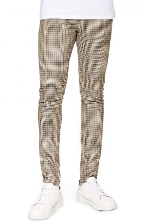 Men's Topman Skinny Fit Puppytooth Stretch Trousers, Size 30 x 30 - Beige