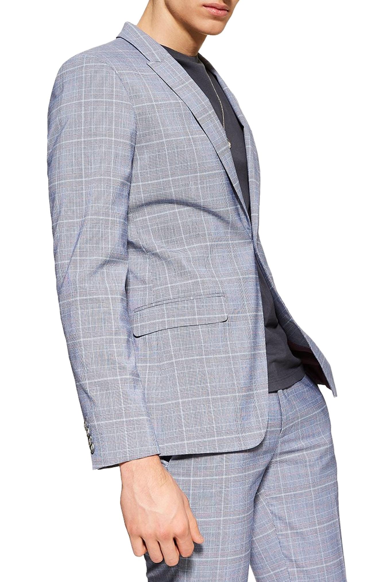 Men\u0027s Topman Skinny Fit Suit Jacket, Size 34R , Blue