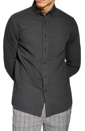 Men's Topman Twill Swim Shirt, Size Large - Grey