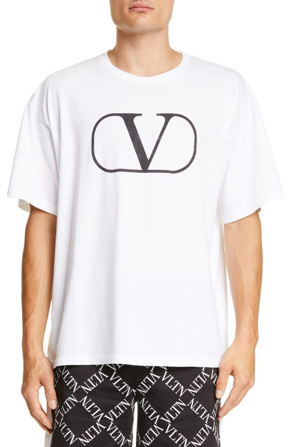 Men's Valentino V Logo T-Shirt, Size Large - Black