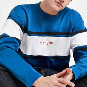Mens Wrangler blue color block sweatshirt