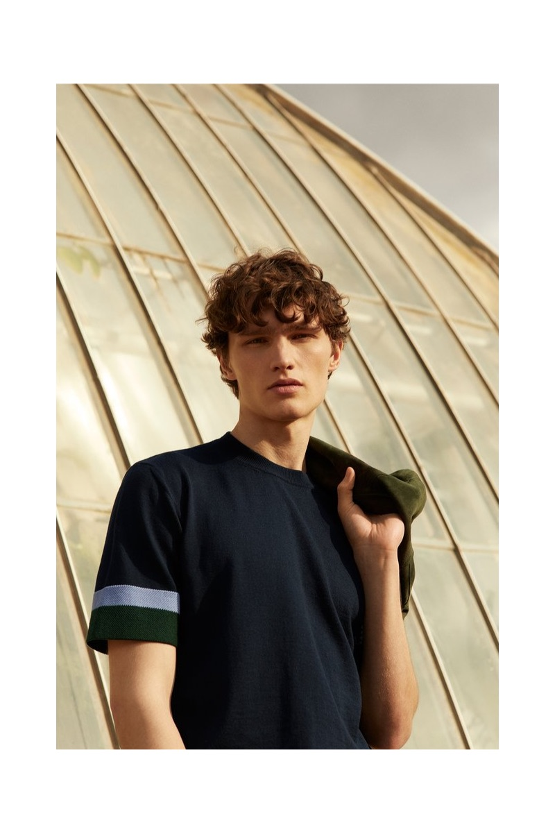 Front and center, Lukas Marschall models a striped merino wool t-shirt by Mr P.