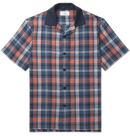 Mr P. - Camp-Collar Checked Cotton Shirt - Men - Navy
