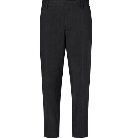 Mr P. - Cropped Pleated Stretch Wool and Cotton-Blend Trousers - Men - Charcoal
