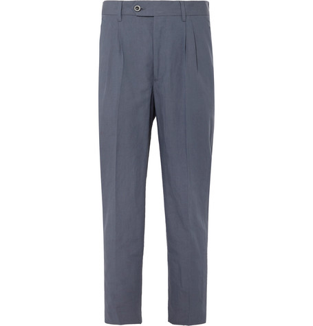 Mr P. - Dark-Blue Cropped Tapered Pleated Linen and Cotton-Blend Suit Trousers - Men - Blue