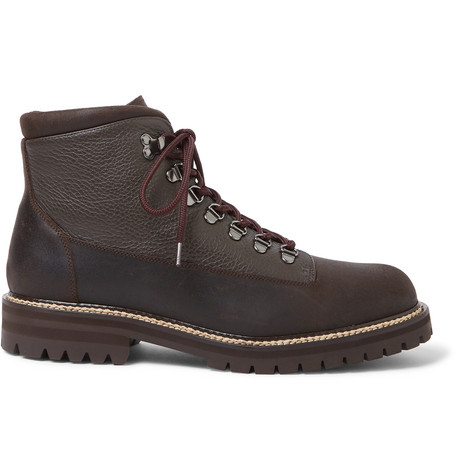 Mr P. - Jacques Shearling-Lined Waterproof Waxed-Suede And Full-Grain Leather Boots - Men - Brown