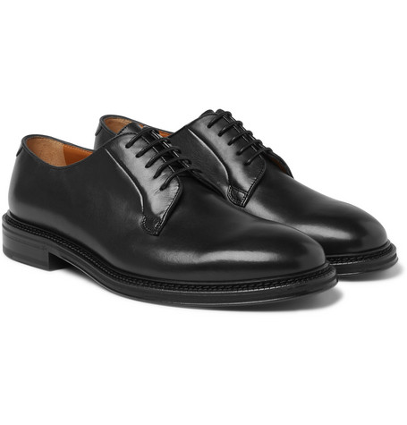 Mr P. - Lucien Polished-Leather Derby Shoes - Men - Black