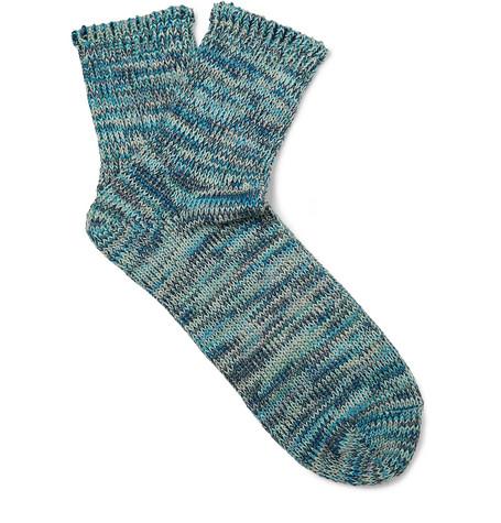 Mr P. - Mélange Cotton-Blend Socks - Men - Blue