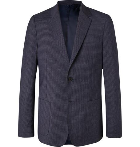 Mr P. - Navy Slim-Fit Checked Wool-Blend Blazer - Men - Navy