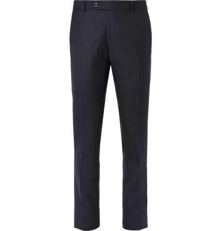 Mr P. - Navy Worsted Wool Trousers - Men - Navy