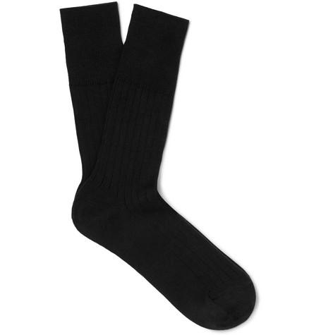 Mr P. - Ribbed Cotton-Blend Socks - Men - Black